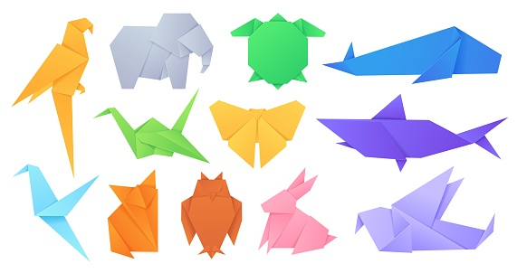 Paper animals. Japanese origami folded toys birds, fox, butterfly, parrot and hare. Cartoon geometric wild animal shaped figures vector set