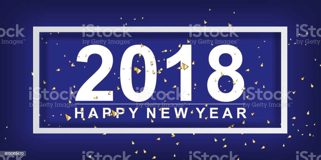 paper art and craft of 2018 happy new year background decorate with ribbon small pieces golden
