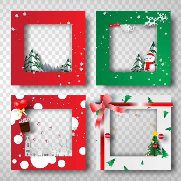 Paper art and craft of Christmas border frame photo design set,transparency,vector Paper art and craft of Christmas border frame photo design set,transparency,vector geographical border stock illustrations