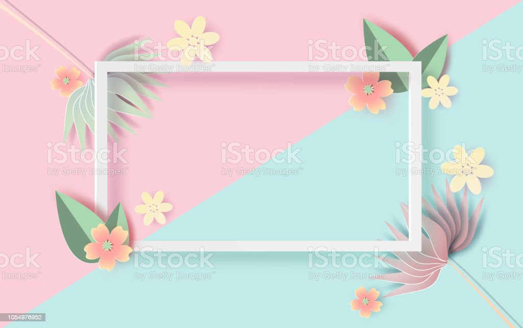 Paper Art And Craft Of Floral Rectangle Frame With Place For Text