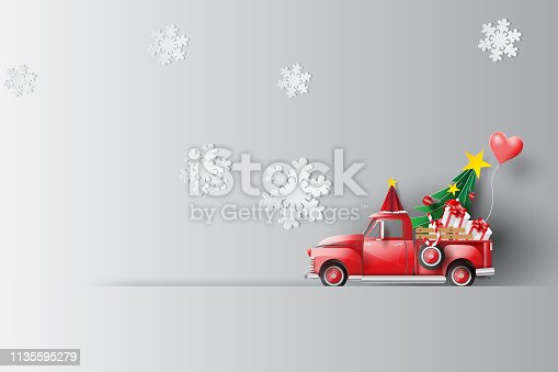 Paper art and craft of Illustration travel in holiday with red classic pickup truck car,Vintage pickup truck by Balloon gift box for pastel color background,Festival Christmas of celebration vector.