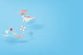 3D Paper art and craft of illustration Tropical summertime on paper airplane flying concept,Summer season Young women Sunbathing,BY pastel colorful,creative design paper cut idea background.vector