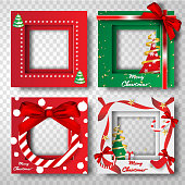 Paper art and craft of Merry Christmas border frame photo design set,portrait,vector