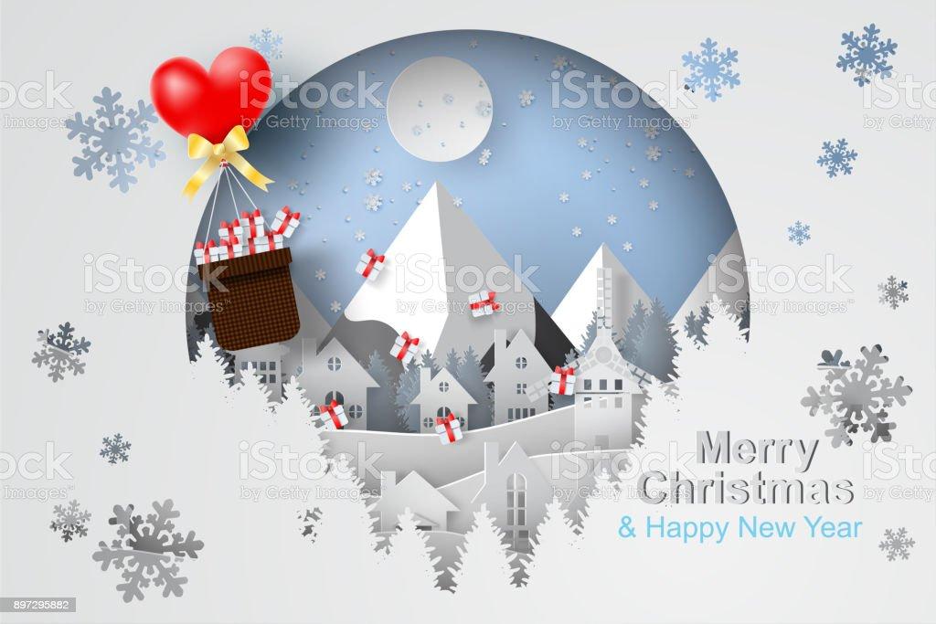 Papierkunst Und Handwerk Der Frohe Weihnachten Mit Ballon Geschenk ...