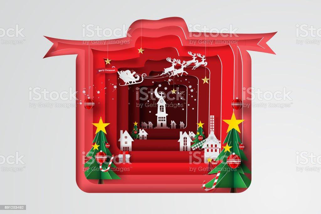 Papierkunst Und Handwerk Der Frohe Weihnachten Mit Geschenkkonzept ...
