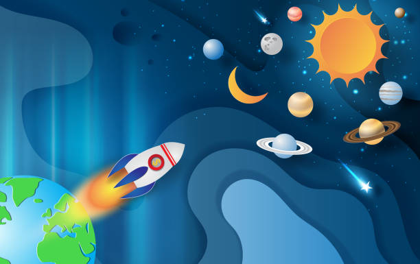 paper art and craft of rocket flying with space galaxy on abstract curve shape blue sky background,start up concept,vector.illustration - abstract of paper spaceship launch to space stock illustrations, clip art, cartoons, & icons