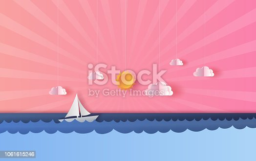 3D Paper art and craft of seascape view with a floating sailing boat in the clear sunset beautiful pink and blue sky background.summertime season landscape with sea wave surface.vector  illustration.