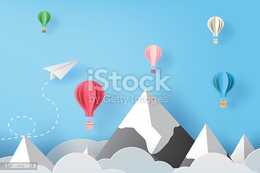 3D Paper art and craft of white paper airplanes flying and balloons on blue sky and clouds, Creative design paper cut airplanes for business success concept idea,pastel color,Vector illustration