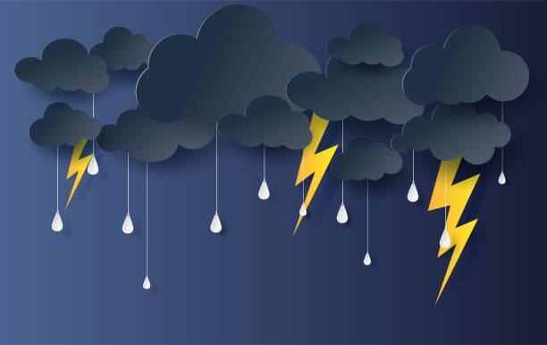 illustrations, cliparts, dessins animés et icônes de papier d'artisanat style de saison des pluies cloud et de la foudre noire sur fond sombre. effets de la tempête flash outdoors.vector.illustration forme de thunder - pluie