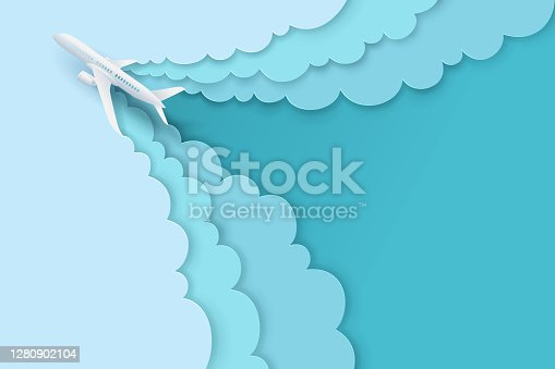 Paper art and landscape, digital craft style for travel and airplane is flying on the sky with cloud.