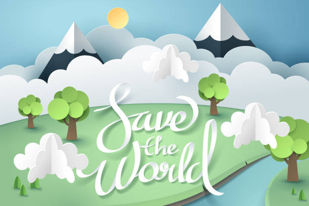 paper art and origami of earth with save the world calligraphy hand lettering, world sustainable environment friendly idea - river paper stock illustrations, clip art, cartoons, & icons