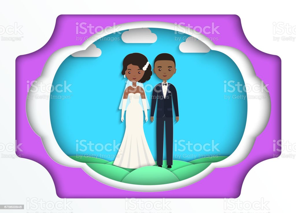 Paper art background with African American bride and groom. Vector. vector art illustration