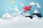 Paper art bird and airplane fly above the cloud, travel and freedom concept, vector art and illustration.