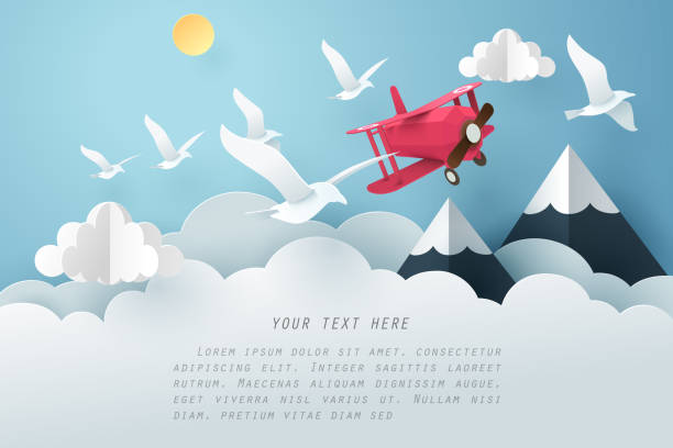 Paper art bird and airplane fly above the cloud, travel and freedom concept Paper art bird and airplane fly above the cloud, travel and freedom concept, vector art and illustration. paper craft stock illustrations