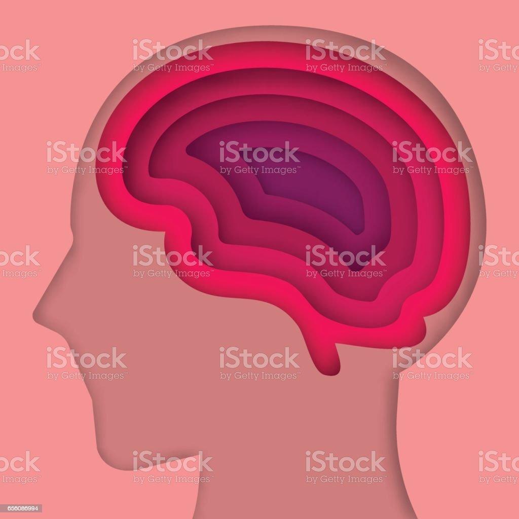 Scherenschnitt Kunst Gehirn Schicht Stock Vektor Art und mehr Bilder ...