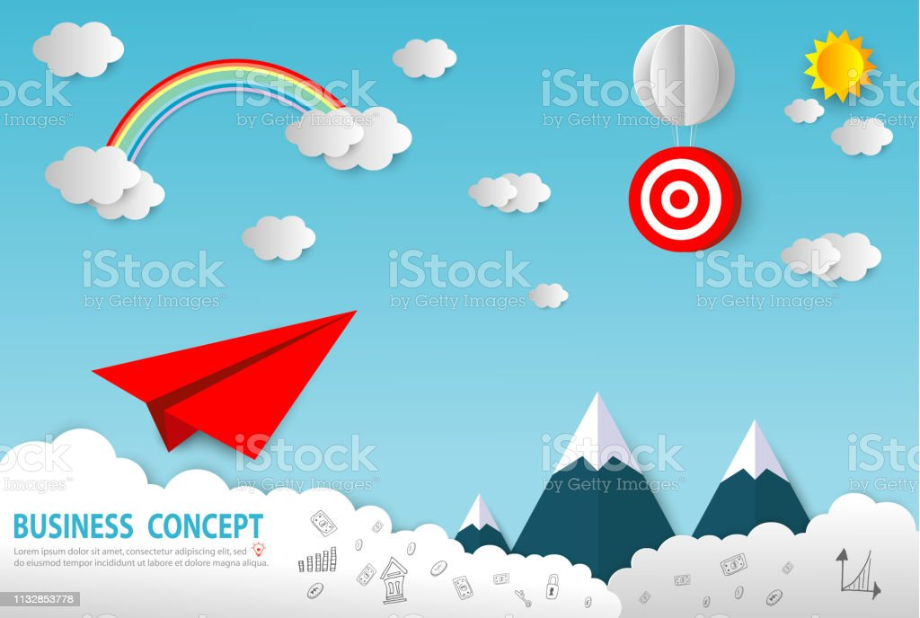 Paper art business concept with cloud and sun , Paper Plane flying on...
