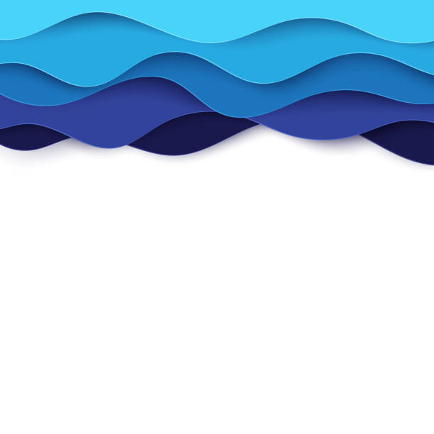 paper art cartoon abstract waves. paper carve background. modern origami design template. vector illustration. 3d paper layers, sea waves - river paper stock illustrations, clip art, cartoons, & icons