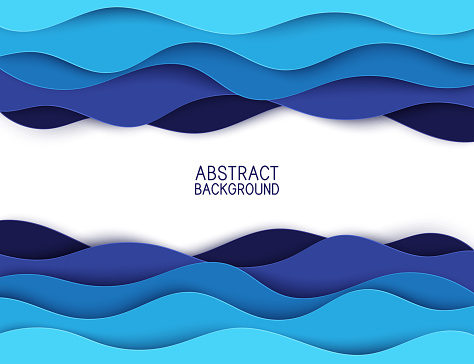 Paper art cartoon abstract waves. Paper carve background. Modern origami design template. Vector illustration. 3d paper layers, sea waves clipart