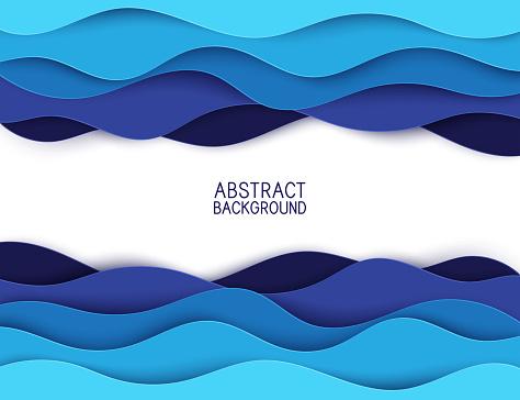 Papper Konst Tecknad Abstrakt Vågor Papper Rista Bakgrund Moderna Origami Formgivningsmall Vektorillustration 3dpapper Lager Havets Vågor-vektorgrafik och fler bilder på Abstrakt
