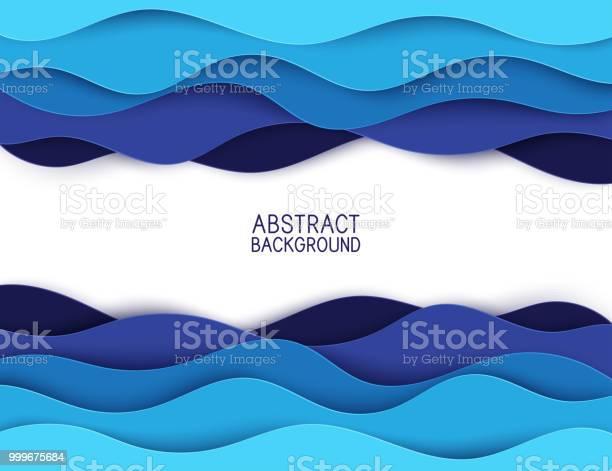 Paper Art Cartoon Abstract Waves Paper Carve Background Modern Origami Design Template Vector Illustration 3d Paper Layers Sea Waves - Arte vetorial de stock e mais imagens de Abstrato