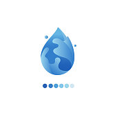 Paper art carve of water drop logo.  Water logo design template. Save water, ecology concept.