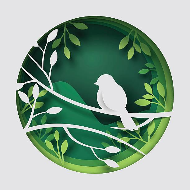Paper art carve to bird on tree branch in forest – Vektorgrafik