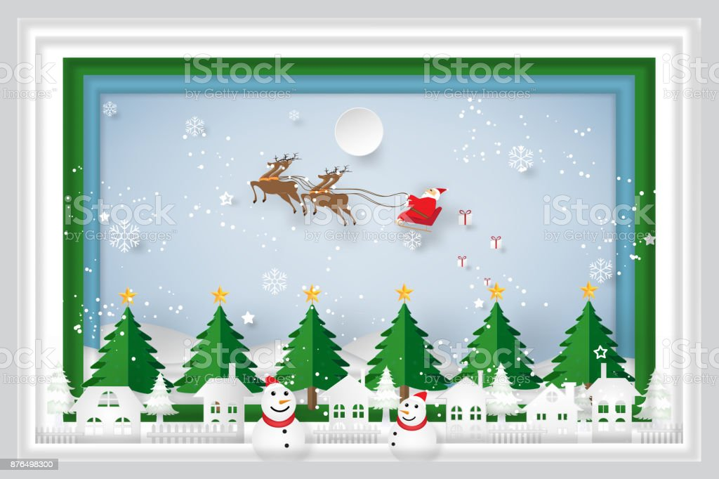 Paper Art Carving Layer Of Santa Claus On Sleigh Reindeer Christmas Tree And Snowman On Snowflakes In The Winter Background As Holiday Xmas Day And