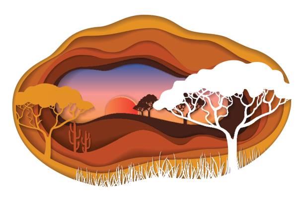 papier kunst schnitzen von afrikanischen landschaft. - gartenskulpturkunst stock-grafiken, -clipart, -cartoons und -symbole