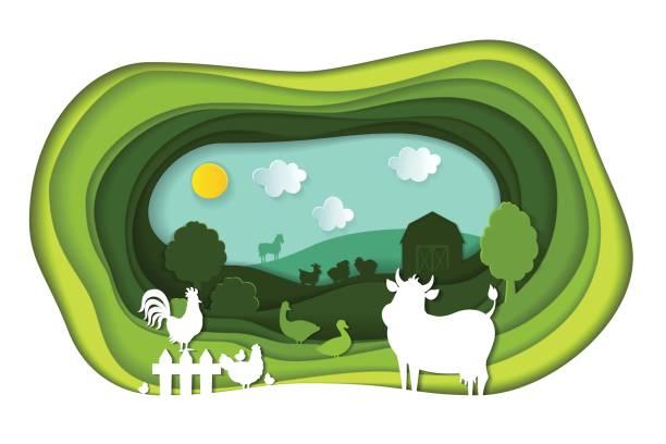 papier kunst schnitzen von landschaft mit tieren vom bauernhof. - gartenskulpturkunst stock-grafiken, -clipart, -cartoons und -symbole