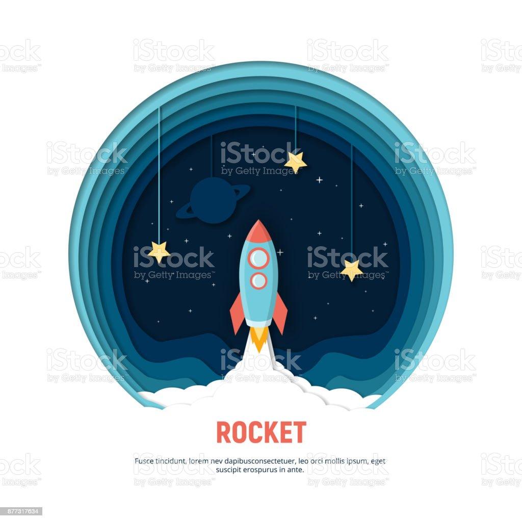 Arte de papel talla el cohete volando en el espacio. Concepto idea de negocio, Inicio, exploración. - ilustración de arte vectorial