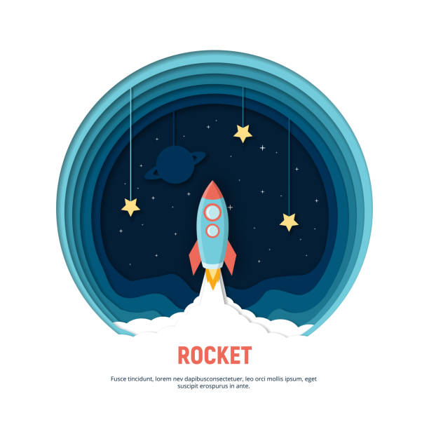 paper art carving the rocket flying in space. concept business idea, startup, exploration. - space exploration stock illustrations, clip art, cartoons, & icons