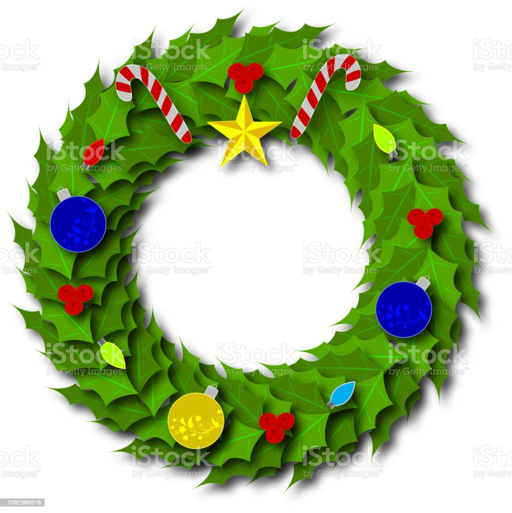 Paper Art Christmas Wreath Stock Vector Art & More Images of Candy ...