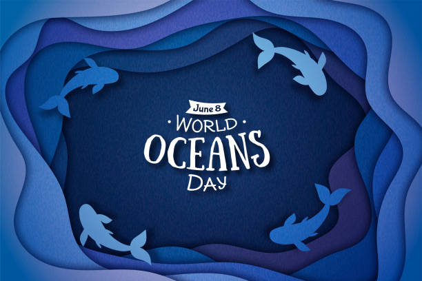 Paper art concept of World Oceans Day. Blue 3d origami craft paper of sea waves and fish The celebration dedicated to help protect, and conserve world oceans, water, ecosystem. paper craft stock illustrations