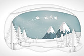 Paper art , cut and craft style of Santa Claus on Sleigh and Reindeer in snow village and deers in winter background as Merry Christmas or x'mas and Happy New Year concept. vector illustration.