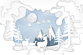 Paper art , cut and digital craft layer style of Santa Claus on Sleigh and Reindeer in snow village and deers in winter background as holiday and merry christmas or x'mas concept. vector illustration.