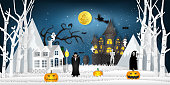 Paper art , cut and digital craft style of the festival characters in the dark night Halloween and full moon background as happy festival day and party concept. vector illustration.