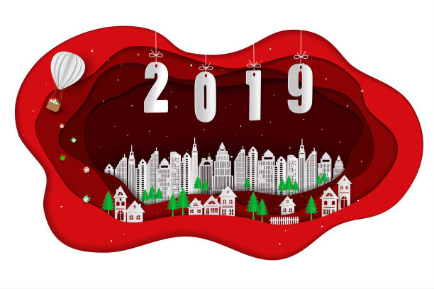 paper art design of happy new year 2019 with white city on red scene background stock vector art more images of 2019 1058837106 istock