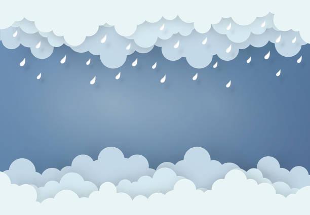 """illustrations, cliparts, dessins animés et icônes de papier art style """"design"""" le concept est la saison des pluies, nuages et pluie sur fond sombre, vector design élément illustration - pluie"""