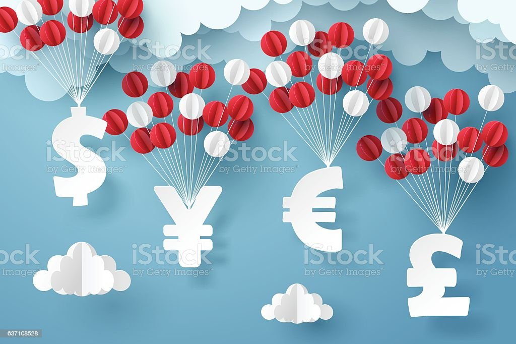 Paper art group of currency sign hanging with colorful balloon vector art illustration