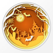 Paper art Halloween background with haunted house, fool moon, cemetery with graves, dead tree branches and flying bats. Modern paper cut style flyer or invitation template for halloween party.