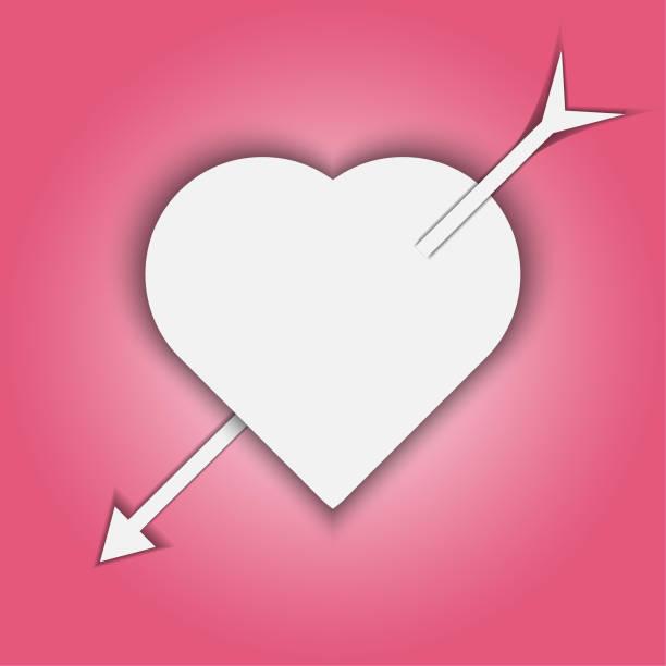 Papier Kunst Happy Valentines Day Pfeil im Herzen – Vektorgrafik