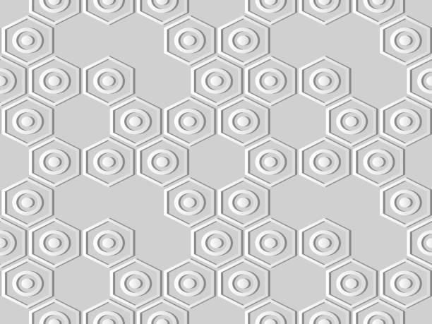 3d papierkunst sechseck runde cross frame kette - gartenskulpturkunst stock-grafiken, -clipart, -cartoons und -symbole
