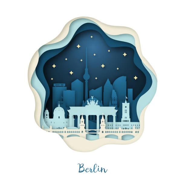 bildbanksillustrationer, clip art samt tecknat material och ikoner med pappers-konst illustration av berlin. origami-konceptet. natt stad med stjärnor. vektor illustration. - berlin city