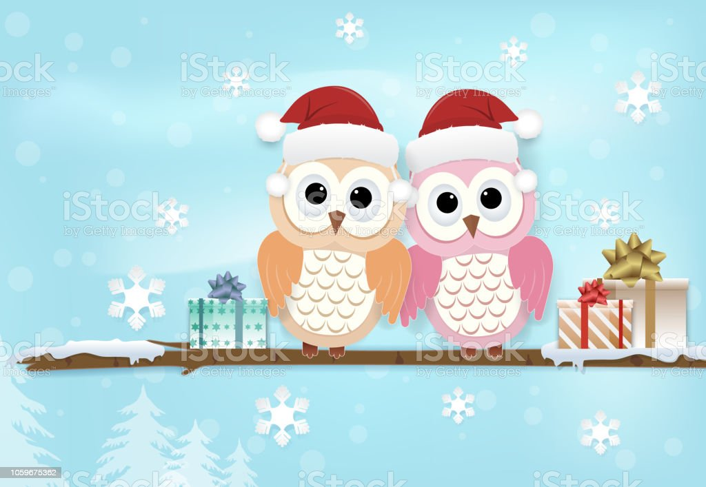 Paper art illustration of Owl couple and snowflake on blue. Merry Christmas, Happy New Year background vector art illustration