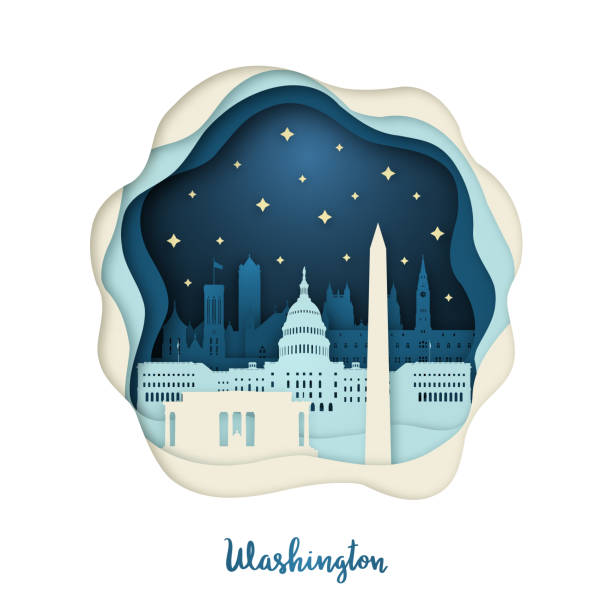 Paper art illustration of Washington. Origami concept. Night city with stars. Vector illustration. Paper art illustration of Washington. Origami concept. Night city with stars. Vector illustration. washington dc stock illustrations