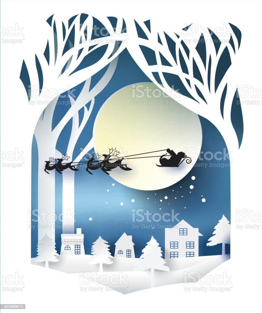 paper art landscape of Christmas and happy new year