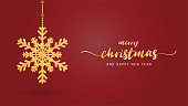 Paper art made golden luxury snowflakes on red background. Digital craft paper cut style.