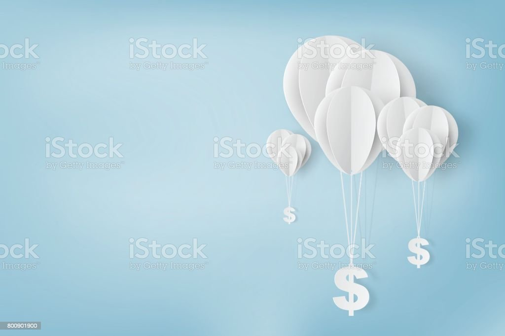 Paper art of , balloon with dollar sign on,business and management concept and idea,vector vector art illustration