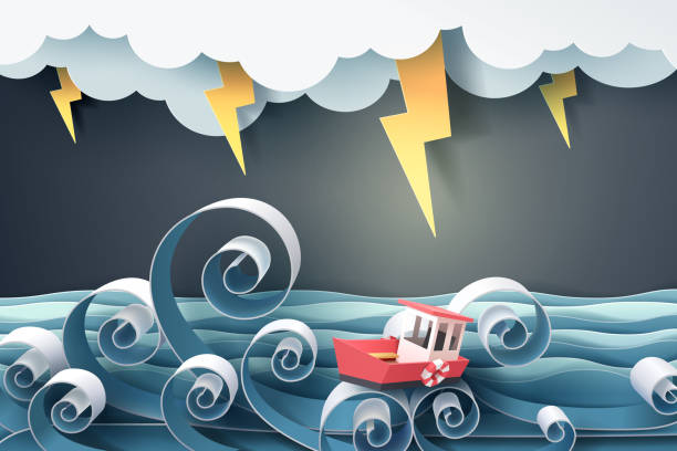 Paper art of boat against crazy sea and thunderbolt in storm Paper art of boat against crazy sea and thunderbolt in storm, vector art and illustration. storm stock illustrations