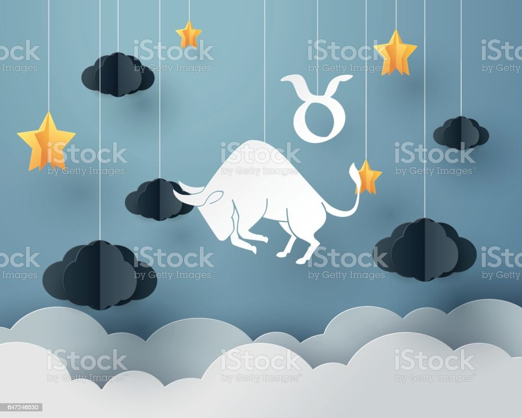 Paper art of bull to Taurus of zodiac and horoscope concept vector art illustration